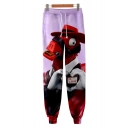 Popular Fashion Funny Cartoon 3D Printed Drawstring Waist Light Purple Cotton Casual Relaxed Sweatpants