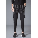 Guys New Stylish Strap Embellished Simple Plain Black Drawstring Waist Casual Sweatpants Pencil Pants