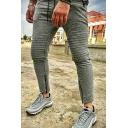 Men's New Fashion Knee Pleated Zipped Cuffs Simple Plain Casual Slim Sweatpants Sports Pencil Pants