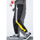 New Fashion Colorblock Patched Side Letter Printed Casual Cotton School Pants Tapered Track Pants