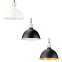 Domed Shade Pendant Light 1 Light Industrial Aluminum Hanging Light in Black/Black&Yellow/White for Office
