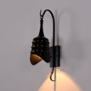 Metal Chimes Shape Sconce Light Corridor Hotel 1 Head Antique Stylish Wall Light in Black