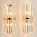 Crystal Cylinder Sconce Light Hotel Restaurant Modern Style Wall Lamp in Champagne/Gold