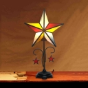 Stained Glass Star Desk Light 1 Bulb Tiffany Traditional Table Light for Cafe Dining Table