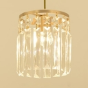Restaurant Drum Mini Chandelier Clear Crystal Single Light Simple Style Gold Pendant Light