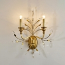 Resin Candle Wall Sconce with Crystal 2 Lights Traditional Wall Lamp in Gold for Villa Cafe