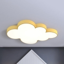 Acrylic Cloud LED Flush Ceiling Light Nursing Room Cartoon Lovely Ceiling Lamp with White Lighting