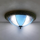 Bowl Kitchen Bedroom Flush Mount Light Art Glass Traditional Tiffany Ceiling Lamp in Blue