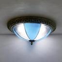 Bowl Kitchen Bedroom Flush Mount Light Art Glass Traditional Tiffany Ceiling Lamp in Blue