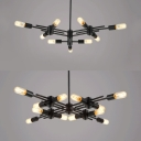 Simple Style Black Chandelier Open Bulb 9/12 Heads Metal Hanging Light for Bathroom Study Room