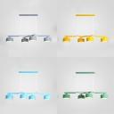 Hotel Dinging Room Drum Island Pendant Metal 4 Lights Nordic Style Blue/Gray/Green/Yellow Island Lamp