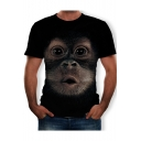 Funny Gorilla Face Pattern Round Neck Short Sleeve T-Shirt