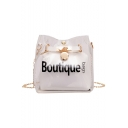 New Fashion Letter BOUTIQUE BAGS Printed Transparent Chain Bucket Bag 16*9*17 CM