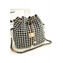 Women's Chic Plaid Pattern Pearl Embellishment Black Chain Drawstring Bucket Bag 25*26*15 CM