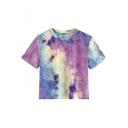 New Trendy Purple Tie Dye Round Neck Short Sleeve Cropped T-Shirt