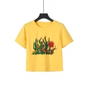 Summer Trendy Cactus Pattern Round Neck Short Sleeve Yellow Cropped Tee
