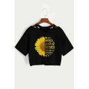 Fashion Letter Sunflower Pattern V-Neck Short Sleeve Casual Black Crop Tee