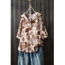 Summer Trendy Polka Dot Printed Button Front Hooded Loose Fit Linen Top
