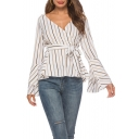 Trendy Vertical Stripe Printed Surplice V-Neck Layer Flared Sleeve Tied Front White Blouse for Women