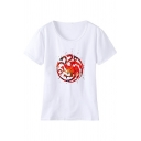New Stylish Dragon Logo Printed Round Neck Short Sleeve White T-Shirt