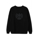 Cool Simple Logo Printed Round Neck Long Sleeve Casual Loose Pullover Sweatshirt