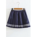 Girls Summer New Fashion Striped Hem Elastic Waist Mini Navy A-Line Pleated Skirt