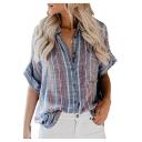 Summer Hot Popular Vertical Striped Printed Long Sleeve Button Down Denim Blue Shirt