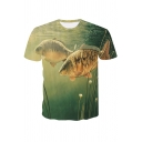 Popular 3D Fish Printed Round Neck Short Sleeve Regular Fit T-Shirt