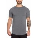 Mens Summer Plain Breathable Sport Training Fitness Gym Short Sleeve Slim Tee