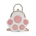 Cute Cartoon Plush Cat Claw Pattern Top Handle Crossbody Clutch Bag with Chain Strap 24*21*2 CM