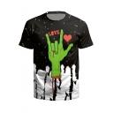 Unique Horror Blood Finger Heart LOVE Print Short Sleeve Black T-Shirt