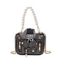 Designer Personalized Biker Jacket Shape Polka Dot Printed Zipper Rivet Embellishment Pearl Handle Crossbody Satchel Handbag 18*15*6 CM