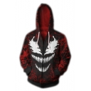 Popular Mouth Printed Long Sleeve Zip Up Camouflage Fitted Hoodie for Men