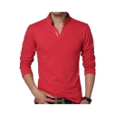 Mens Simple Letter Logo Print V-Neck Long Sleeve Fitted Polo Shirt