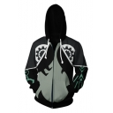 New Stylish Comic Anime Cosplay 3D Gear Printed Long Sleeve Zip Up Drawstring Hoodie