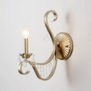 Foyer Corridor Candle Wall Light Metal 1 Light Rustic Gold Wall Lamp with Clear Crystal