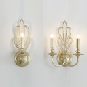 Traditional Candle Wall Lamp with Crystal Bead Metal 1/2 Bulbs Gold Sconce Lamp for Living Room