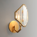 Metal Candle Wall Light with Crystal Shade 1 Light Traditional Sconce Light in Gold Finish