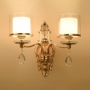 Gold Curved Body Wall Light 2 Lights Luxurious Metal Sconce Light with Cylinder Shade & Crystal for Hotel