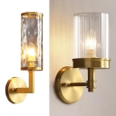 Villa Hotel Tube Wall Light Metal 1 Light Modern Style Gold Wall Lamp with Dimple/Ribbed Crystal