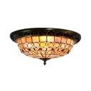 Rustic Style Flush Mount Light Flower/Grid 4 Lights Handmade Shell Ceiling Lamp for Dining Room