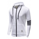 Mens Trendy Simple Striped Long Sleeve Zip Up Cotton Slim Fitted Hoodie