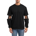 Guys Cool Designer Hollow Out Buckled Patch Detachable Long Sleeve Round Neck Simple Plain Sport Sweatshirt
