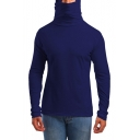 Mens Hot Popular Simple Solid Color Long Sleeve Hooded Slim Fit T-Shirt