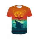 Hot Popular King of the Monsters 3D Figure Dragon Printed Short Sleeve Khaki T-Shirt