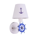 Creative Tapered Shade Wall Light with Rudder 1 Light Metal Wall Sconce in Blue for Child Bedroom