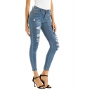 Womens Fashion Washed Blue Distressed Ripped Skinny Fit Jeans