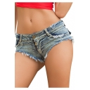 Womens Sexy Night Club Distressed Frayed Hem Beach Hot Pants Denim Shorts