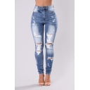 Hot Popular Blue Bleached Distressed Ripped Slim Fit Jeans for Women