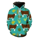 Funny Cartoon Cow Cactus Printed Long Sleeve Green Sport Loose Drawstring Hoodie